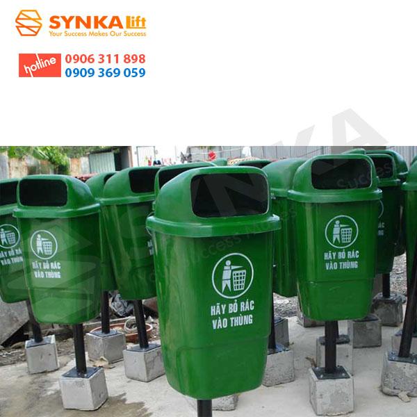 thùng rác nhựa chân trụ